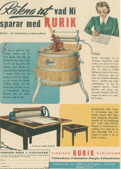 Annons för tvättmaskinen Rurik