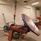 Pannkaksmaskin av cykel och parabol.
