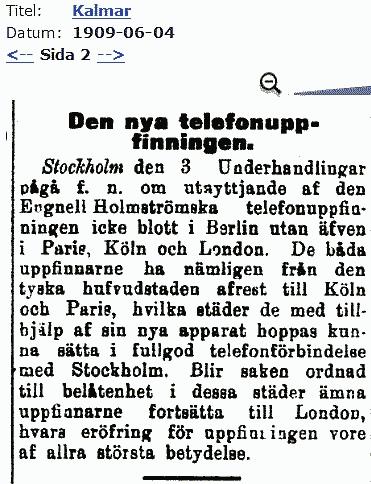 Notis i tidningen Kalmar 1909