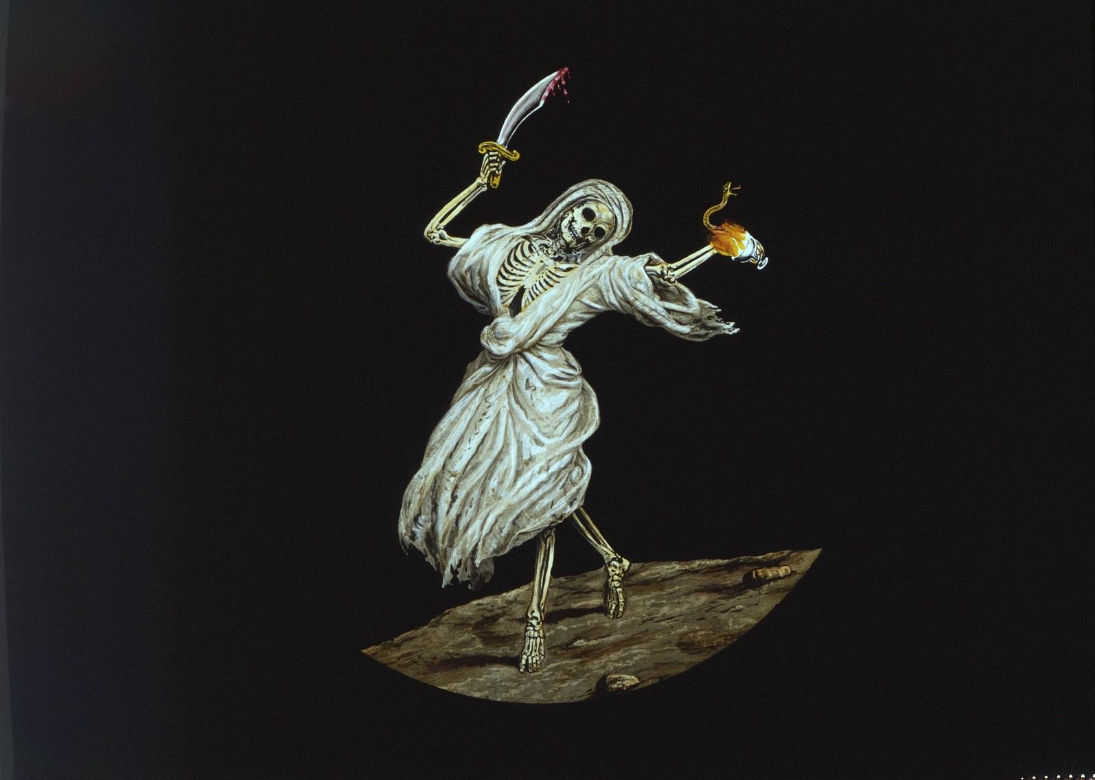 Bild av skelett klädd i en vit kåpa, med svärd i ena handen och en orm i den andra.